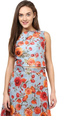 Miss Chase Casual Sleeveless Floral Print Women Multicolor Top