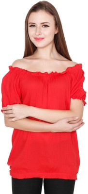 TEEMOODS Casual Puff Sleeve Solid Women Red Top TEEMOODS Women's Tops