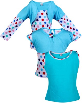 Gkidz Casual Cotton Top(Light Blue, Pack of 3)