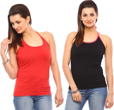 Vvoguish Casual Sleeveless Solid Women's Red, Red Top