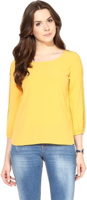 Harpa Formal Full Sleeve Solid Women Yellow Top at flipkart