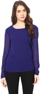 Factorywala Formal Full Sleeve Solid Women Dark Blue Top