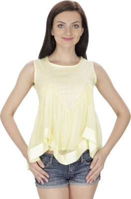 Svt Ada Collections Party Sleeveless Solid Women Yellow Top Svt Ada Collections Women's Tops