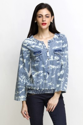 Oxolloxo Casual Full Sleeve Solid Women Blue Top at flipkart