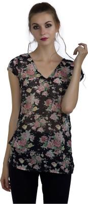 Marzeni Casual Cap Sleeve Floral Print Women Multicolor Top Marzeni Women's Tops