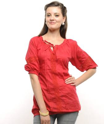 U&F Casual 3/4th Sleeve Solid Women's Red Top