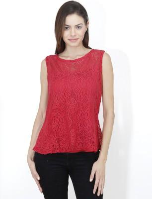Mayra Casual Sleeveless Lace Women Red Top Mayra Women's Tops