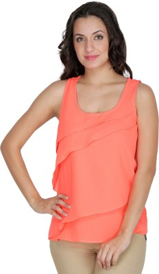 Mayra Party Sleeveless Solid Women Pink Top