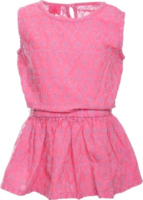 UFO Girls Casual Cotton Blend Top(Pink, Pack of 1) at flipkart