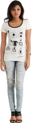 Heritage Tycoon Casual Short Sleeve Printed Women's White Top