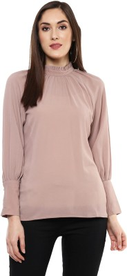 Sassafras Casual Full Sleeve Solid Women Brown Top
