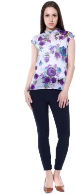 pinaki perryhills Casual Cap Sleeve Floral Print Women's Multicolor Top