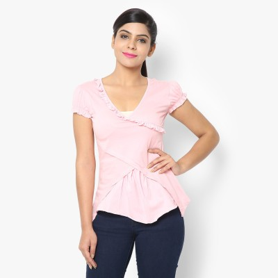 STRAK Casual Short Sleeve Self Design Women's Pink Top