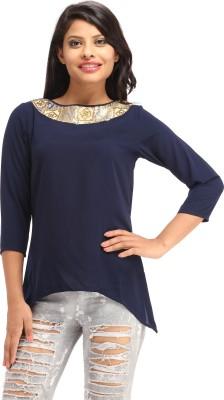 Cottinfab Casual 3/4 Sleeve Self Design Women Blue Top