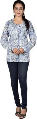 MahisWardrobe Casual Full Sleeve Printed Women Blue Top