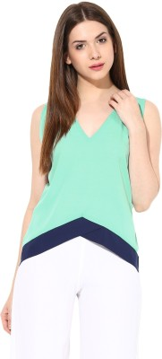 Miss Chase Casual Sleeveless Solid Women Green Top Miss Chase Women's Tops