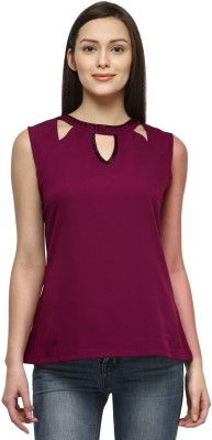 Tunic Nation Casual Sleeveless Solid Women Maroon Top