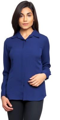 Femninora Formal Full Sleeve Solid Women Dark Blue Top