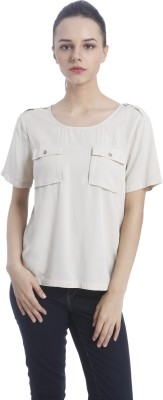 Only Casual Short Sleeve Solid Women Grey Top