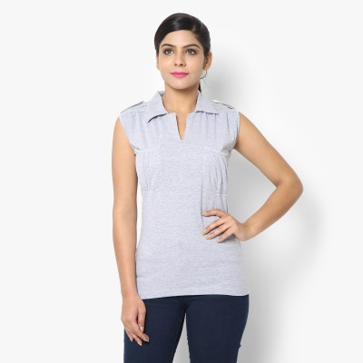 STRAK Casual Short Sleeve Self Design Women's Grey Top