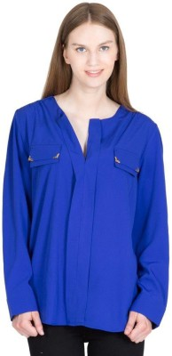 Global Elle Casual Full Sleeve Solid Women's Blue Top
