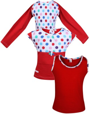 Gkidz Casual Cotton Top(Red, Pack of 3)