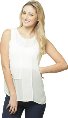 Miss Chase Casual Sleeveless Solid Women White Top