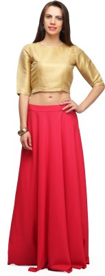 Abhishti Solid Women Gathered Pink Skirt at flipkart