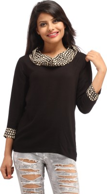 Cottinfab Casual 3/4th Sleeve Solid Women's Black Top