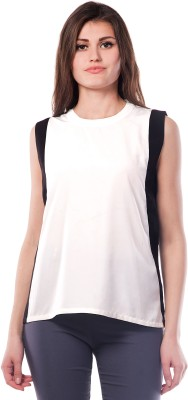 Miss Chase Casual Sleeveless Solid Women Black Top at flipkart