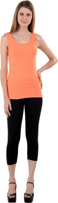 NumBrave Casual Sleeveless Solid Women's Orange Top