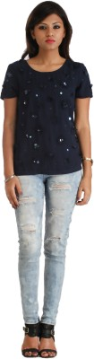 Heritage Tycoon Casual Short Sleeve Floral Print Women's Dark Blue Top