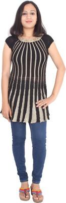 Rasi Silks Casual Short Sleeve Solid Women's Black Top