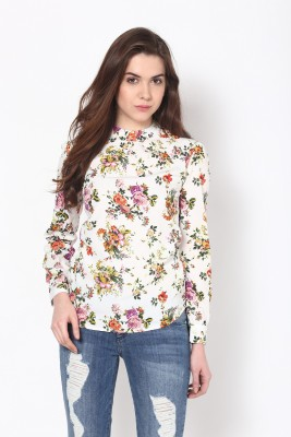 Harpa Casual Full Sleeve Floral Print Women White Top