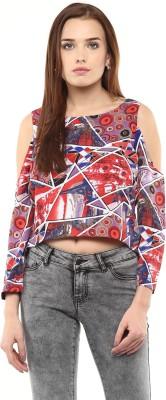 Athena Casual Short Sleeve Printed Women Multicolor, Black Top