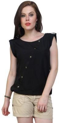Pannkh Casual Cap Sleeve Solid Women Black Top at flipkart