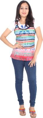 Rasi Silks Casual Short Sleeve Solid Women's Multicolor Top
