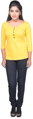 Ssmitn Casual 3/4 Sleeve Solid Women Yellow Top at flipkart