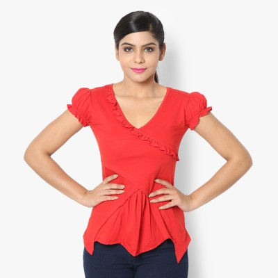STRAK Casual Short Sleeve Self Design Women's Red Top