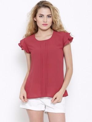 Rare Casual Short Sleeve Solid Women Maroon Top
