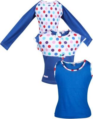 Gkidz Girls Casual Cotton Top(Dark Blue, Pack of 3)