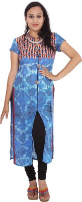 Rasi Silks Casual Short Sleeve Solid Women's Blue Top