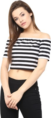 Miss Chase Party Short Sleeve Striped Women White, Black Top