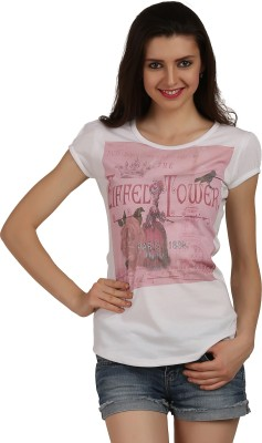Skidlers Casual Short Sleeve Graphic Print Women White Top