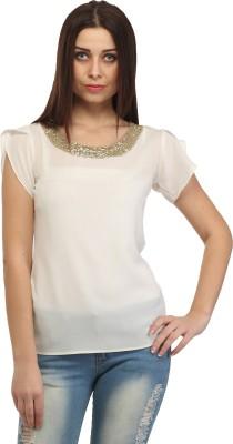 Cation Casual Short Sleeve Solid, Self Design Women Beige Top at flipkart