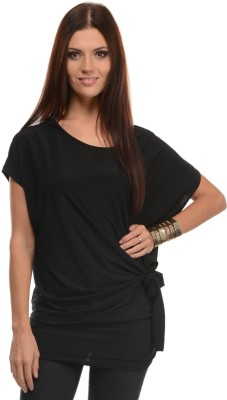 Mayra Casual Short Sleeve Solid Women Black Top at flipkart