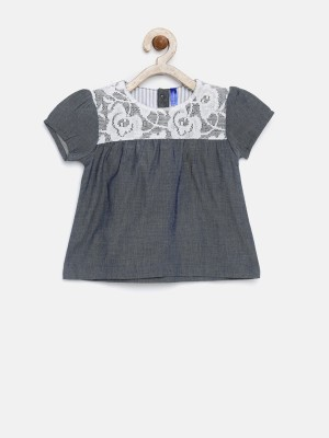Yk Girls Casual Cotton Blend Top(Grey, Pack of 1) at flipkart