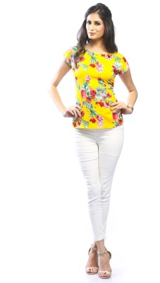 Pinwheel Casual Cap Sleeve Floral Print Women's Yellow Top