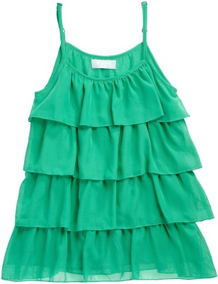 Kami Girls Casual Polyester Layered Top(Green, Pack of 1)
