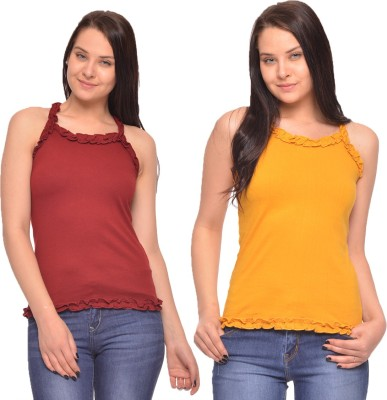 Vvoguish Casual Sleeveless Solid Women's Maroon, Yellow Top